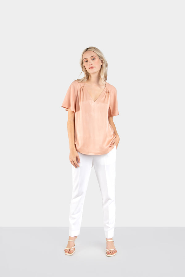 LYRA V-NECK SILKY BLOUSE - LOST APRIL