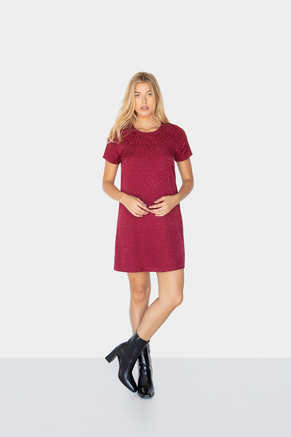 KARA LEOPARD PRINT SHIFT DRESS BURGUNDY FRONT2