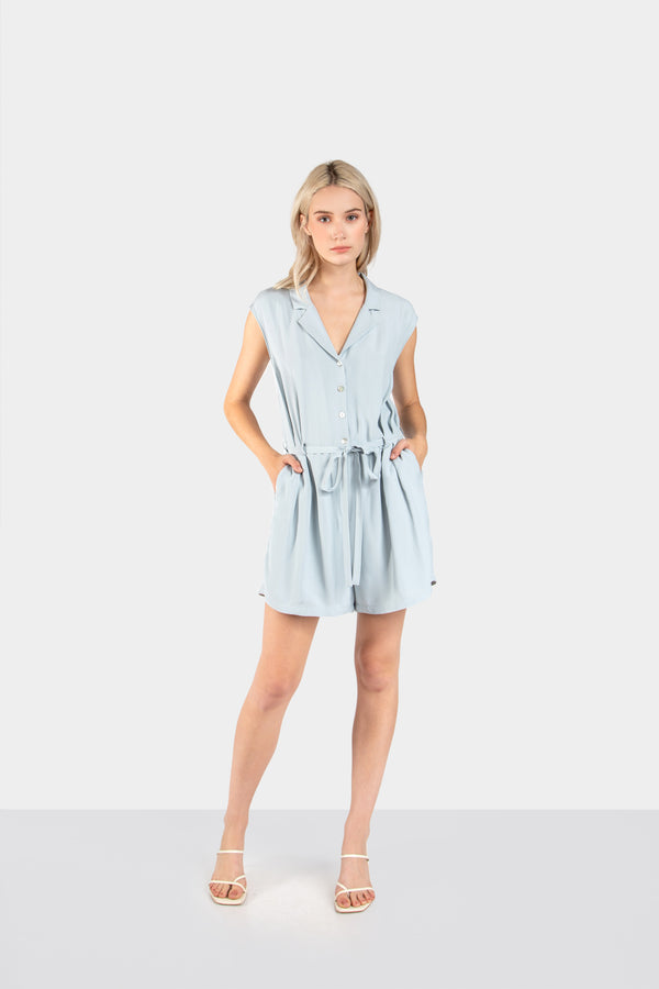 TARIN SHORT DROP SLEEVE COLLARED ROMPER - LOST APRIL