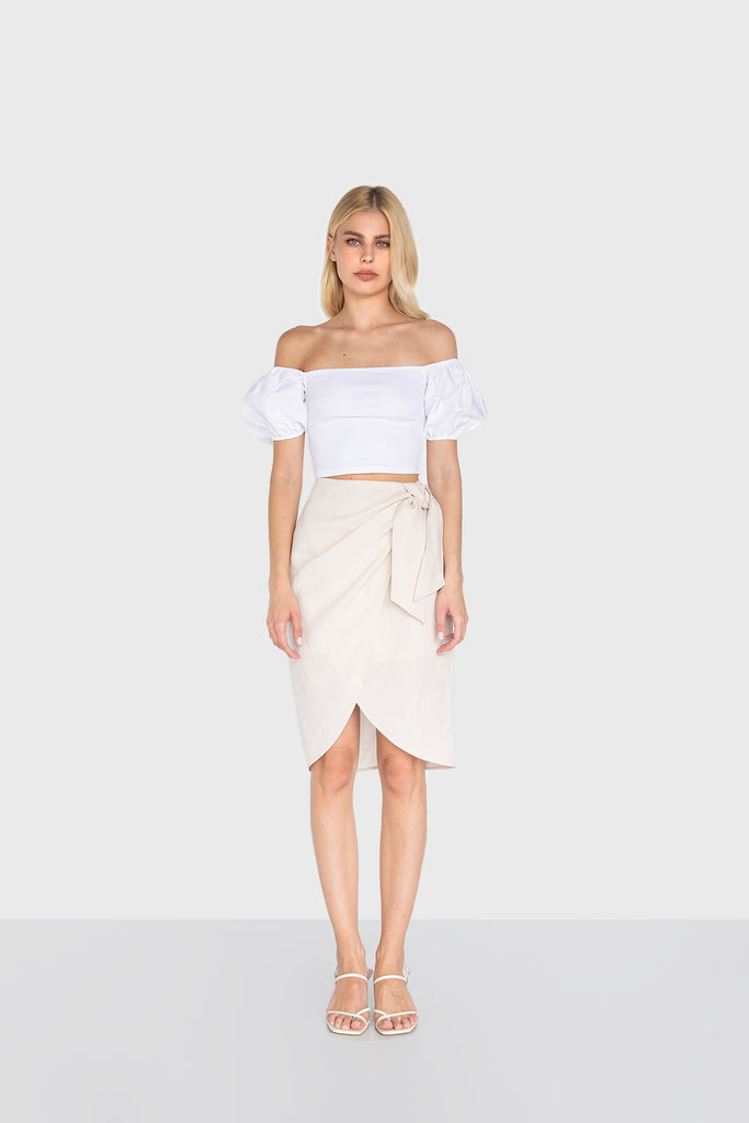 DEVON LINEN WRAP SKIRT WHITESAND 02