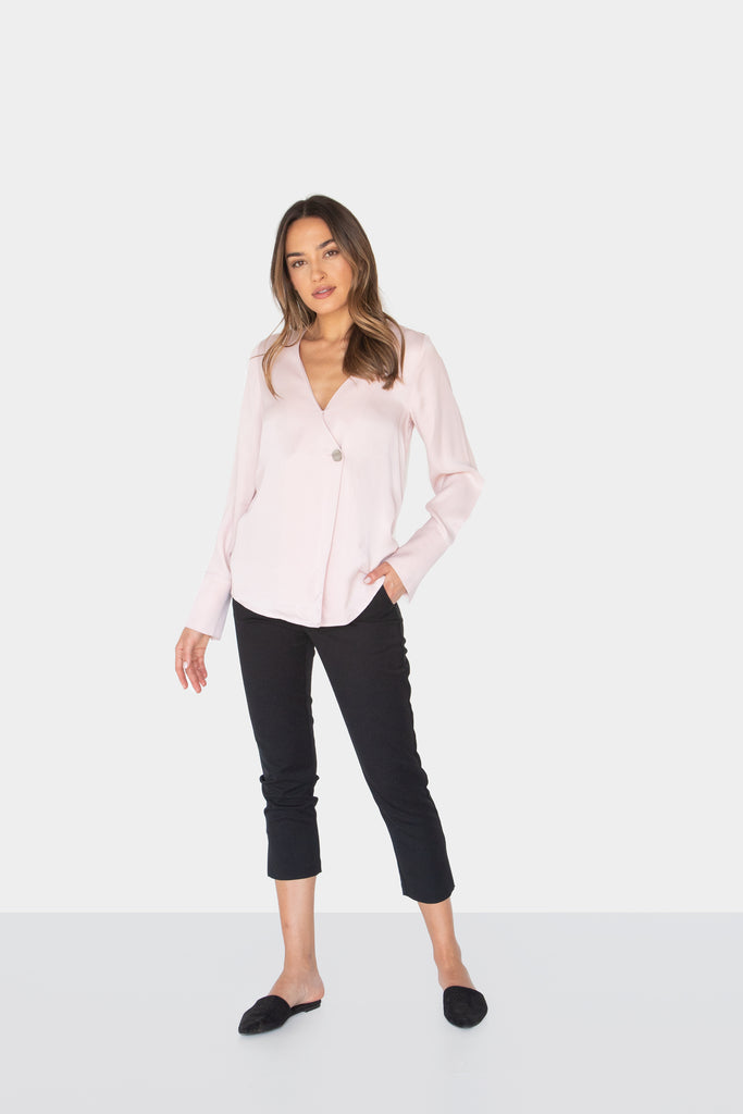 MARJORIE SILKY BUTTON LONG SLEEVE BLOUSE - LOST APRIL