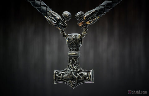 THOR'S HAMMER : MJOLNIR - Leather Necklace Wolfs DARK