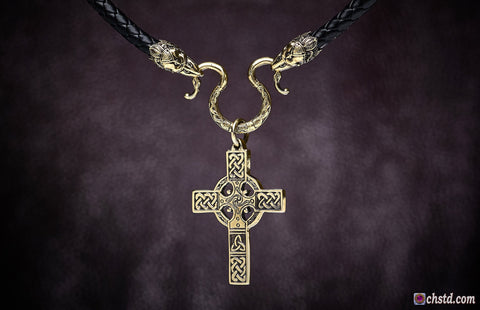 CELTIC CROSS with RAVENS Necklace