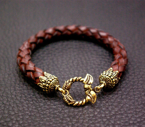 Leather Bracelet with Leaf Lock