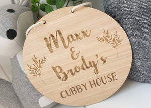 Engraved Cubby House Sign