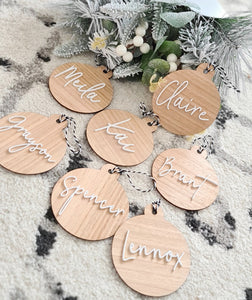 Wooden Christmas Bauble with acrylic script