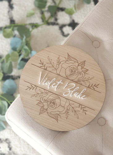 Round Name Plaque with floral Design