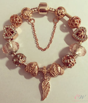 Rose Gold Plated Charm Bracelet -Angel Wing Charms