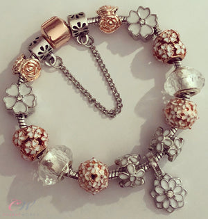 Rose Gold & Silver Plated Charm Bracelet-Rose Gold & White Daisy Charms