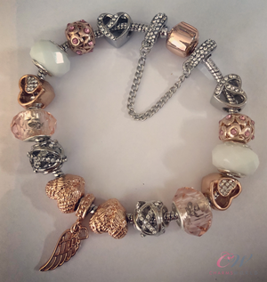 Silver & Rose Gold Plated Charm Bracelet-Rose Gold, Pink Charms-Angel Wings