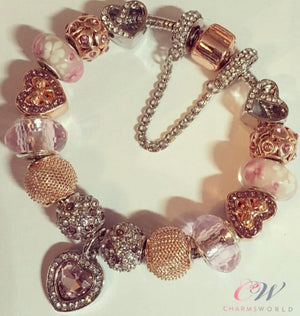 Silver & Rose Gold Plated Charm Bracelet- Rose Gold, Pink & Silver Charms