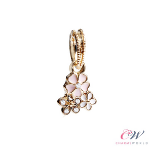 Gold Plated & Pink Poetic Blooms Flower Charm Pendant for Charm Bracelet