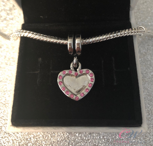 Silver Plated Heart Pendant Charm for Charm Bracelet- Make your own photo charm!