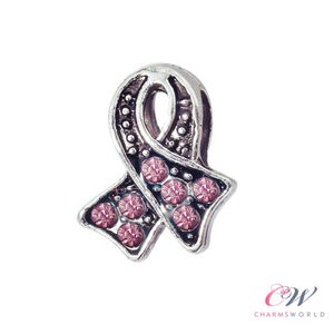 Silver Plated Pink Ribbon Crystal Charm - Breast Cancer Awareness