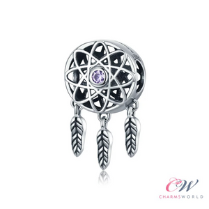 925 Sterling Silver Dream Catcher Charm for Charm Bracelet