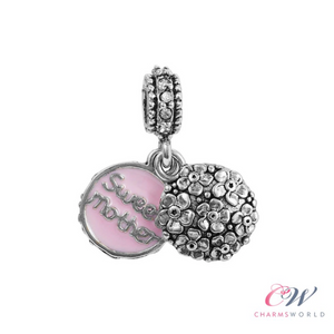 Silver Plated Sweet Mother Pink Pendant Charm for Charm Bracelet- For Mum