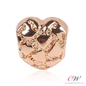Gold Plated Heart Charm for Charm Bracelet