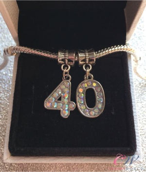 Silver Plated 40th Birthday Charm Crystal Number Pendant for Charm Bracelet