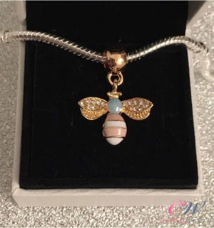 Gold Plated Pink & Blue Honey Bee Pendant Charm for Charm Bracelet