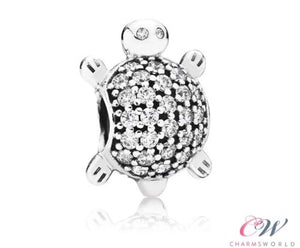 Silver Plated Turtle / Tortoise Charm CZ Crystal Pave for Charm Bracelet