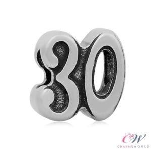 Stainless Steel 30th Birthday Number Charm for Charm Bracelet