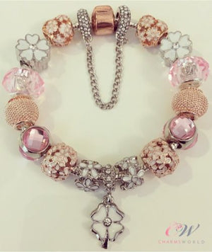 Rose & Silver Plated Charm Bracelet-Rose Gold & Daisy Charms