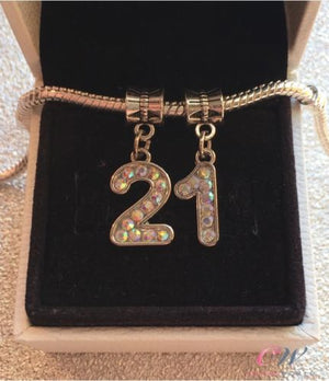Silver Plated 21st Birthday Crystal Number Pendant Charms for Charm Bracelet