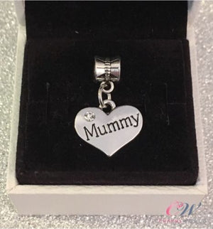 Silver Plated Mummy Heart Pendant Charm for Charm Bracelet