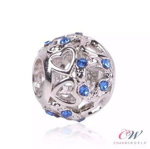 Silver Plated Openwork Hearts & Blue Crystal Charm for Charm Bracelet
