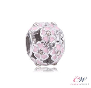 Silver Plated Pink Primrose Meadow Flower Charm for Charm Bracelet