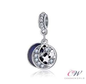Silver Plated Night Sky Blue Pendant Charm for Charm Bracelet