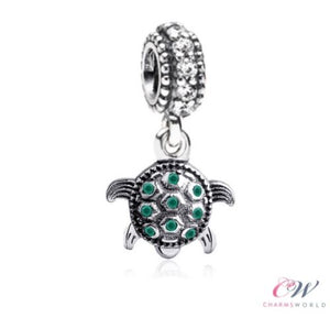 Silver Plated Tortoise / Turtle Charm Green Crystal Pendant for Charm Bracelet