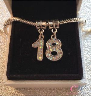 Silver Plated 18th Birthday Charm Crystal Number Pendant for Charm Bracelet