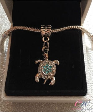 Silver Plated Tortoise / Turtle Crystal Pendant Charm for Charm Bracelet