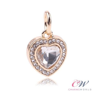Gold Plated Heart Pendant Charm Sparkling Clear Crystal for Charm Bracelet
