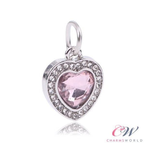 Silver Plated Love Heart Charm Sparkling Pink Crystal Pendant for Charm Bracelet