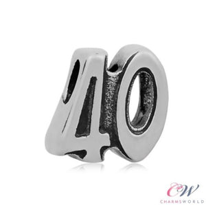 Stainless Steel 40th Birthday Number Charm for Charm Bracelet