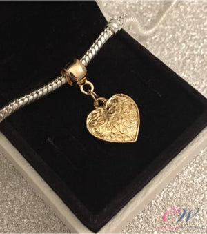Gold Plated Heart Pendant Dangle Charm for Charm Bracelet