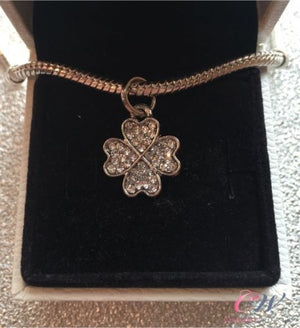 Silver Plated Four Leaf Clover Charm Crystal Pendant for Charm Bracelet