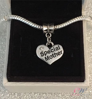 Silver Plated Special Mother Heart Crystal Pendant Charm for Bracelet