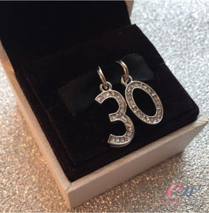 Silver Plated 30th Birthday Crystal Charms- For charm bracelet, necklace etc