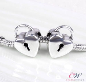 Silver Plated Heart Lock Charm for Bracelet