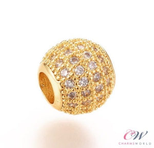Gold Plated Clear Crystal Pave Charm for Charm Bracelet