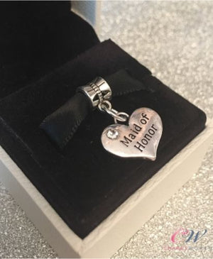 Silver Plated Maid of Honor Heart Charm for Charm Bracelet- Wedding Gift