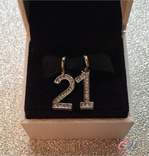 Silver Plated 21st Birthday Crystal Number Charms