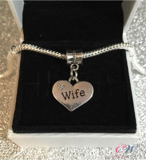 Silver Plated Wife Charm Heart Pendant for Charm Bracelet