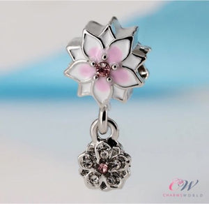 Silver Plated Magnolia Bloom Flower Pendant Charm for Charm Bracelet