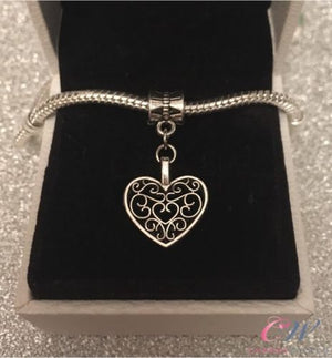Silver Plated Heart Pendant Charm for Charm Bracelet