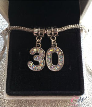 Silver Plated 30th Birthday Crystal Number Pendant Charms for Charm Bracelet
