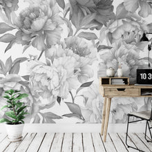 Load image into Gallery viewer, Gray Peonies Floral Wallpaper Mural